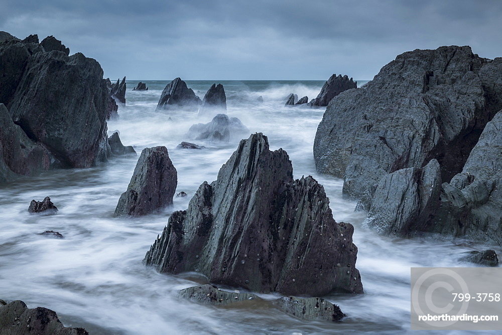 Rocky cove on the dramatic North Devon coast, England. Winter (January) 2019.