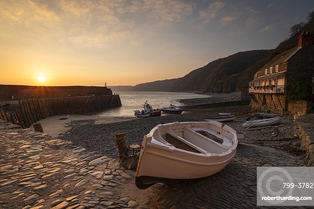 Sunrise over Clovelly Harbour, Devon, England, United Kingdom, Europe