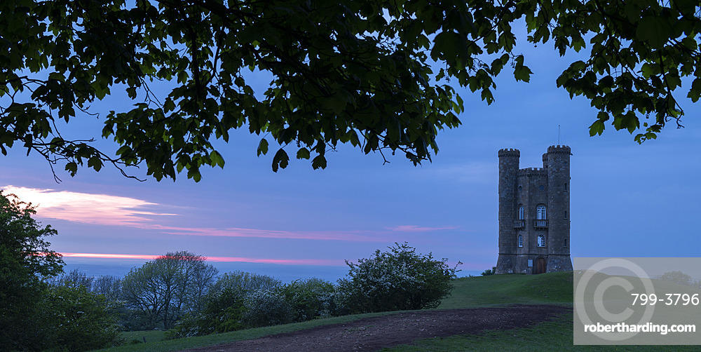 Broadway Tower in the Cotswolds at twilight, Worcestershire, England. Spring (May) 2019.