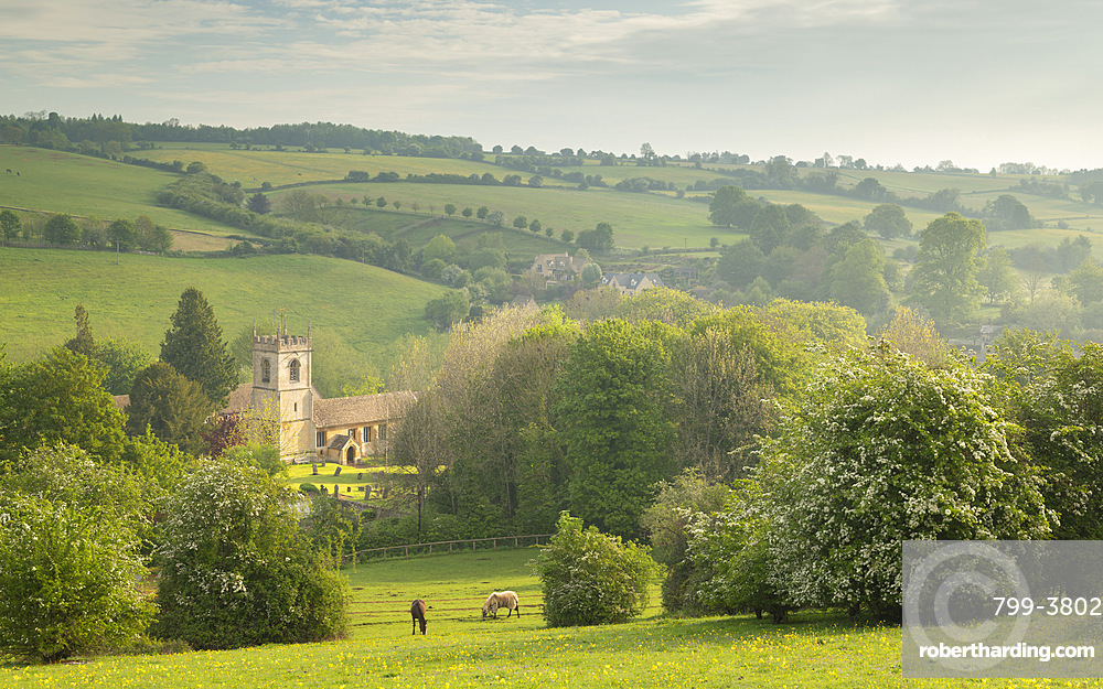 Rural church in beautiful Cotswolds countryside, Naunton, Gloucestershire, England. Spring (May) 2019.