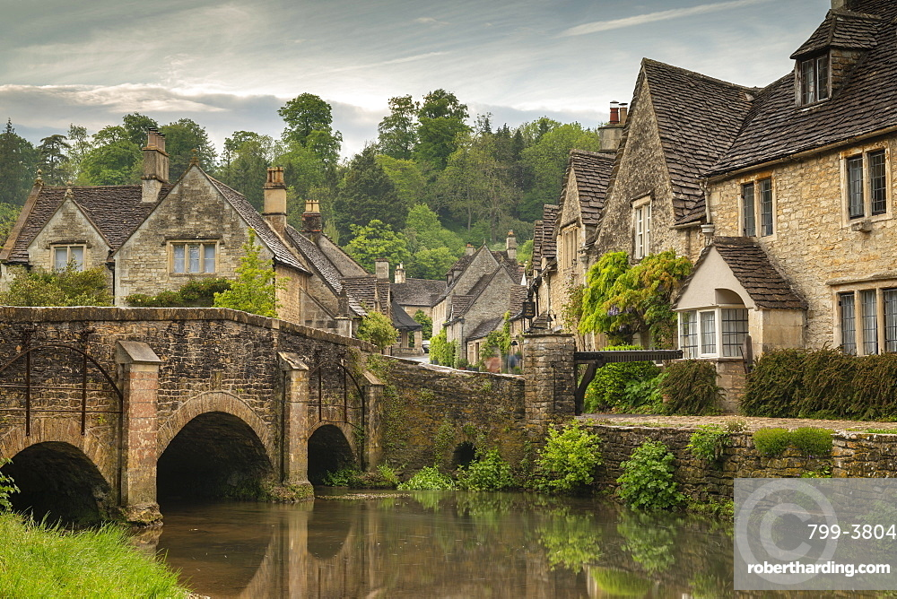 The picturesque Cotswolds village of Castle Combe, Wiltshire, England. Spring (May) 2019.