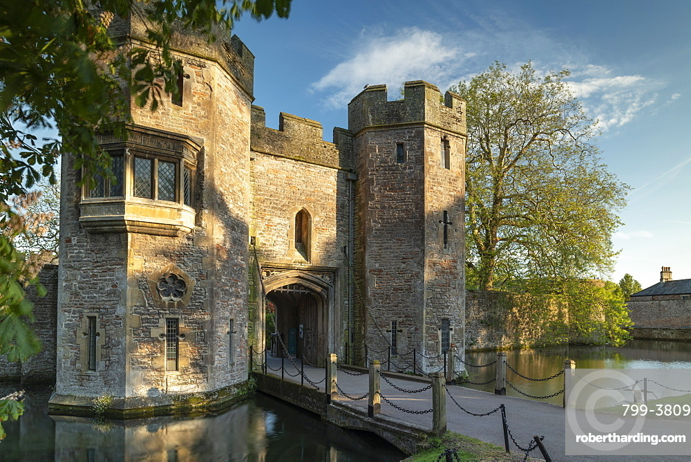 Gatehouse of the Bishop???s Palace in Wells, Somerset, England. Spring (May) 2019.