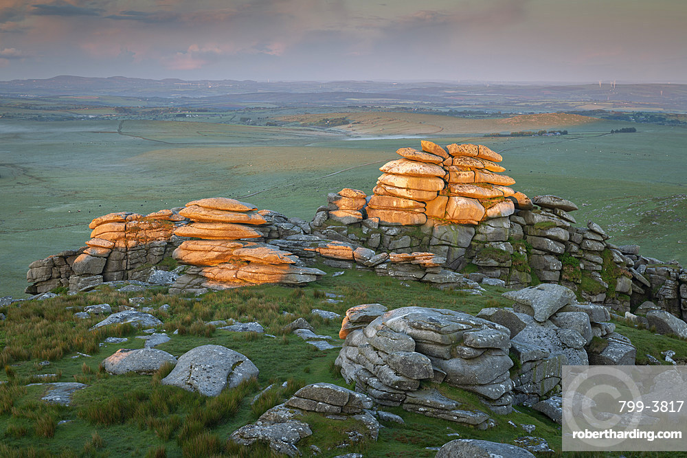 First light on Roughtor in Bodmin Moor, Cornwall, England. Spring (June) 2019.