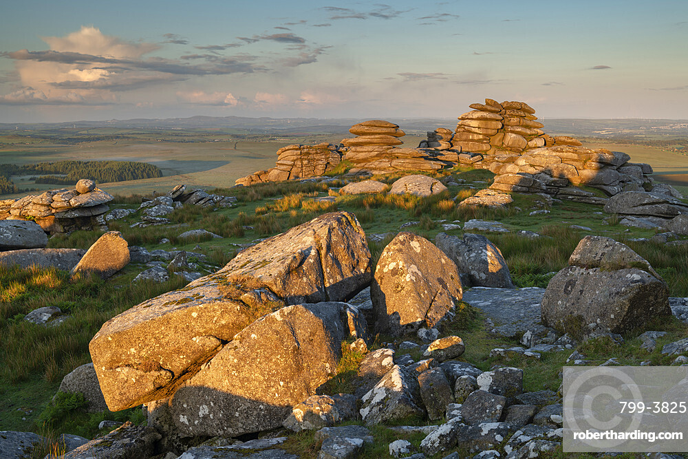 First light on the granite boulders of Roughtor in Bodmin Moor, Cornwall, England. Summer (June) 2019.