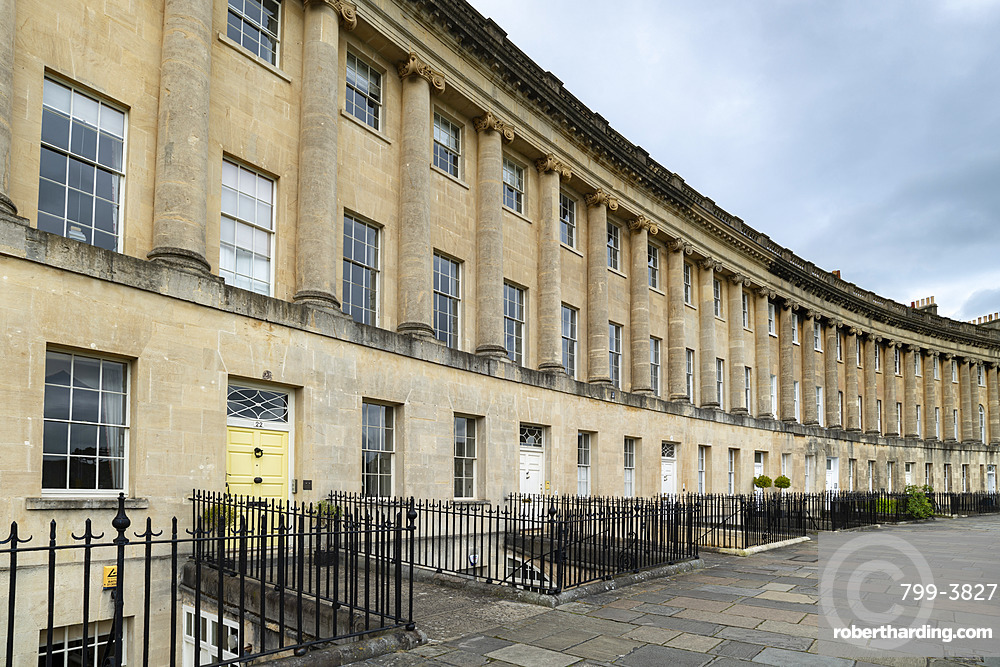 The Royal Crescent in Bath, Somerset, England. Summer (June) 2019.