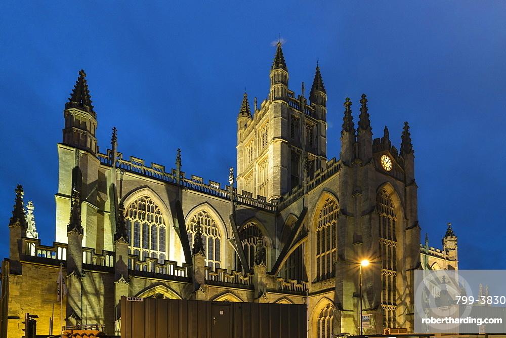 Bath Abbey illuminated at night, Bath, UNESCO World Heritage Site, Somerset, England, United Kingdom, Europe