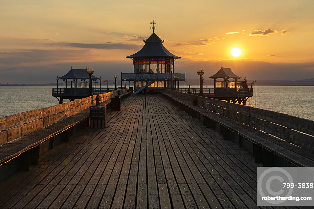 Sunset over Clevedon Pier and its pagoda, Clevedon, Somerset, England. Summer (July) 2019.