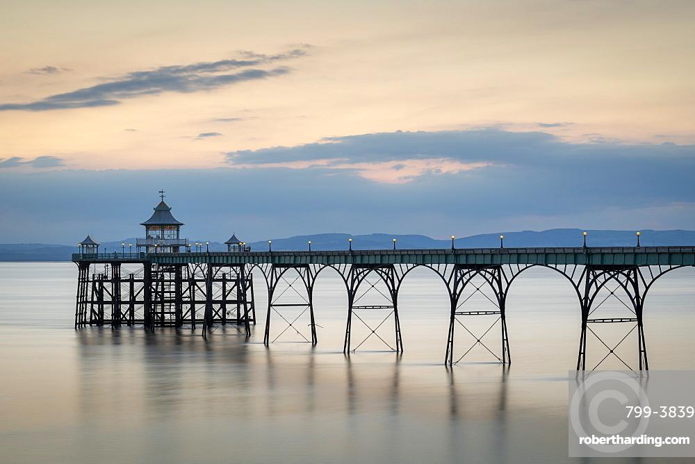 Twilight over Clevedon Pier, Clevedon, Somerset, England. Summer (July) 2019.