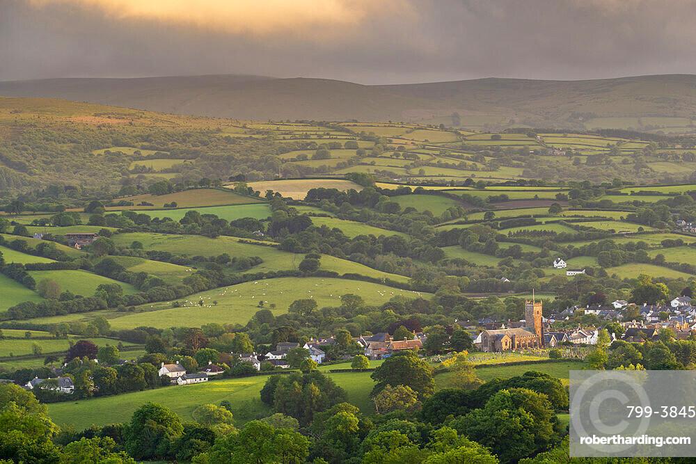 Parish Church surrounded by rolling countryside, Moretonhampstead, Dartmoor, Devon, England, United Kingdom, Europe
