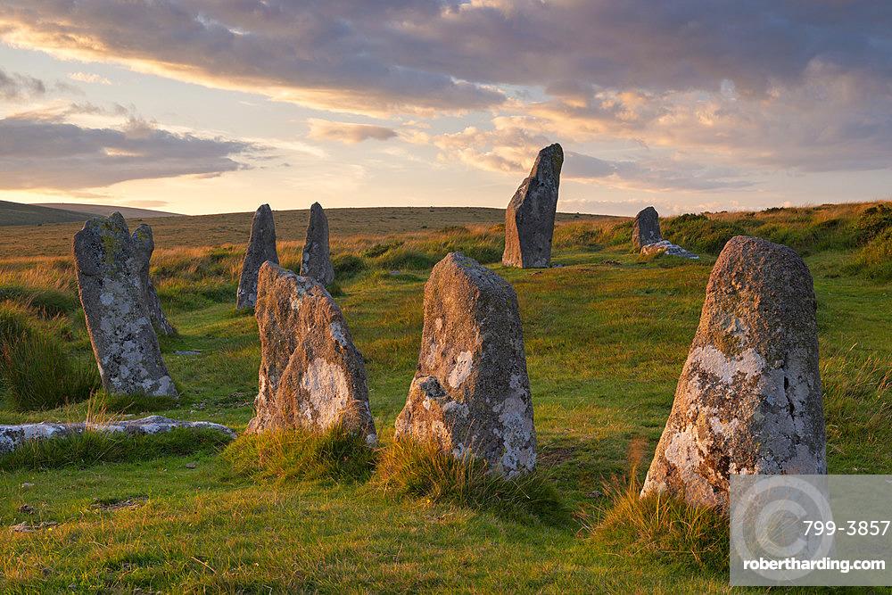 Scorhill megalithic stone circle in Dartmoor National Park, Devon, England, United Kingdom, Europe