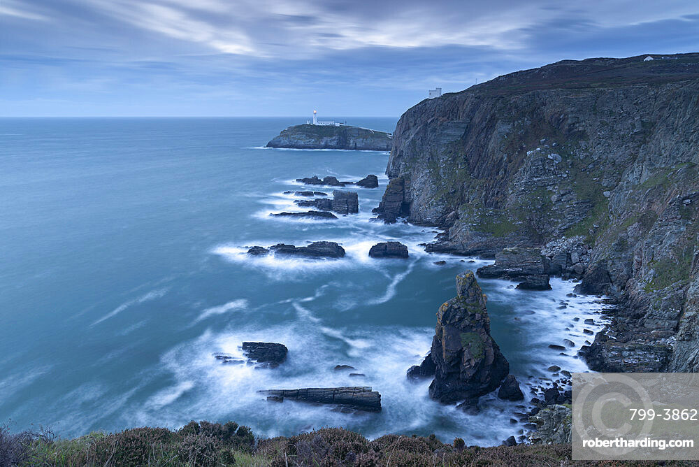 Stormy evening at South Stack Lighthouse on the coast of Anglesey, North Wales, United Kingdom, Europe