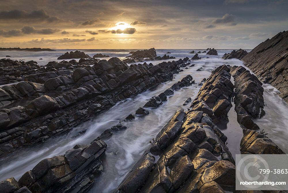 Sunset in winter over the North Devon coast, Devon, England, United Kingdom, Europe