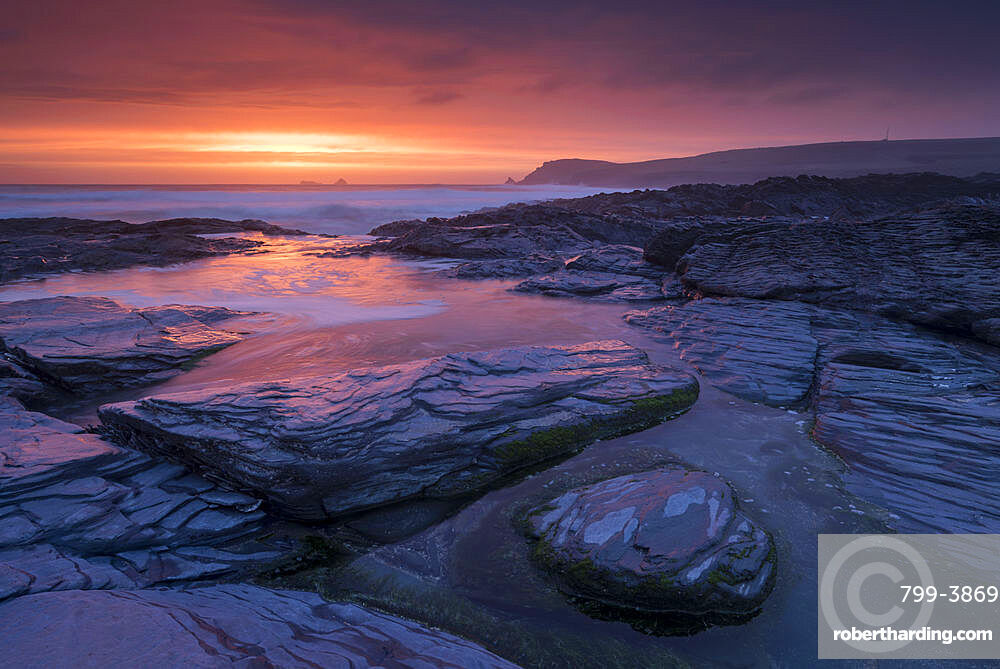 Incredible sunset over the rocky shores of Boobys Bay near Trevose Head in Cornwall, England, United Kingdom, Europe