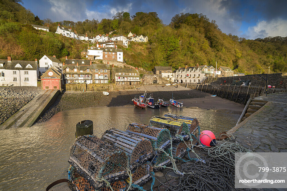 Clovelly harbour at dawn, North Devon, England, United Kingdom, Europe