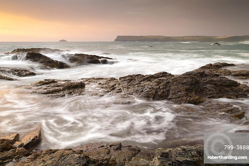 Sunset over the Rumps on the North Cornish Coast, Cornwall, England, United Kingdom, Europe
