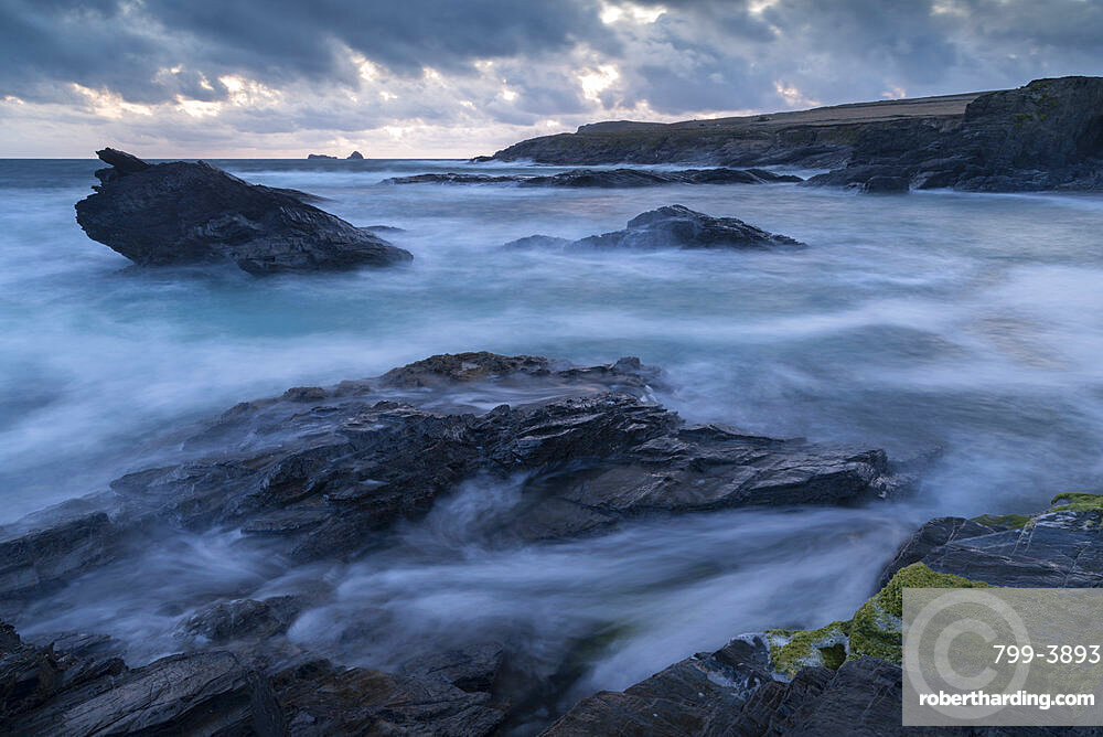 Stormy evening at Boobys Bay on the North Coast of Cornwall, England, United Kingdom, Europe