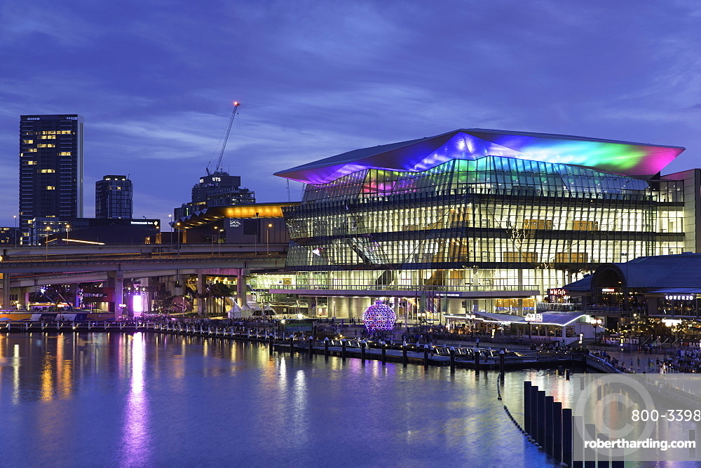 International Convention Centre at dusk, Darling Harbour, Sydney, New South Wales, Australia, Pacific