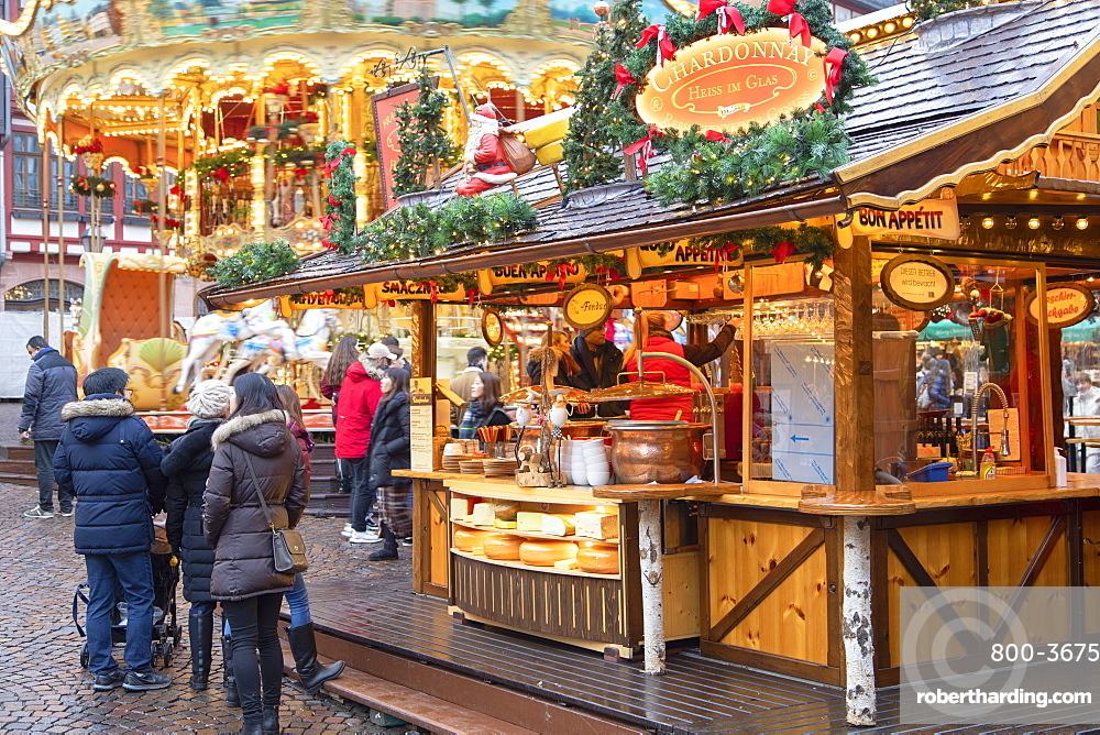 Food stall at Frankfurt Christmas Market, Frankfurt am Main, Hesse, Germany