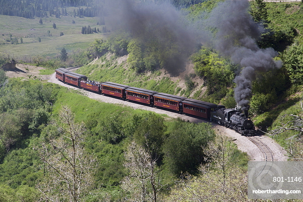 New Mexico and Colorado, Cumbres and Toltec Scenic Railroad, National Historic Landmark, narrow guage, steam powered locomotives, with tourist cars, United States of America, North America