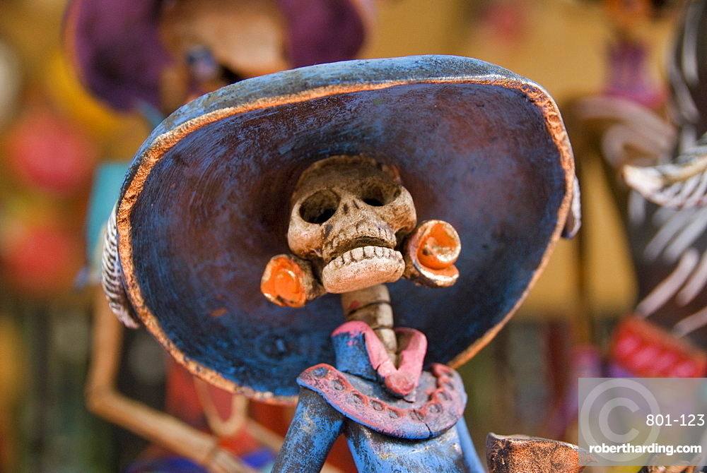 Detail of figurines on sale for the Day of the Dead celebration, San Miguel de Allende, Guanajuato, Mexico, North America