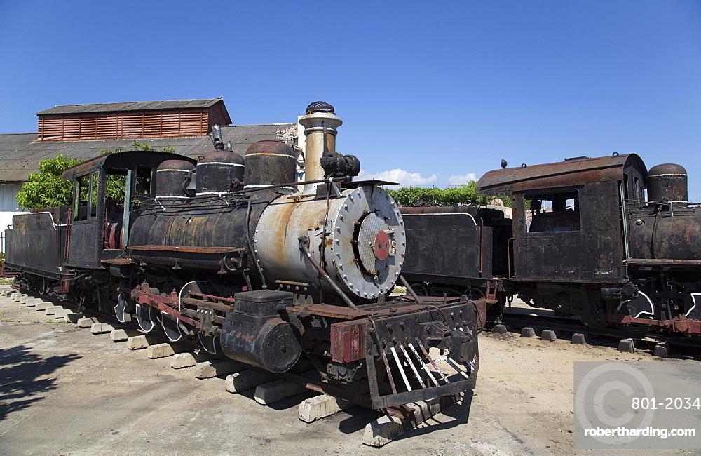 Old Steam Sugar Locomotives, Cienfuegos City, UNESCO World Heritage Site, Cienfuegos, Cuba, West Indies, Central America