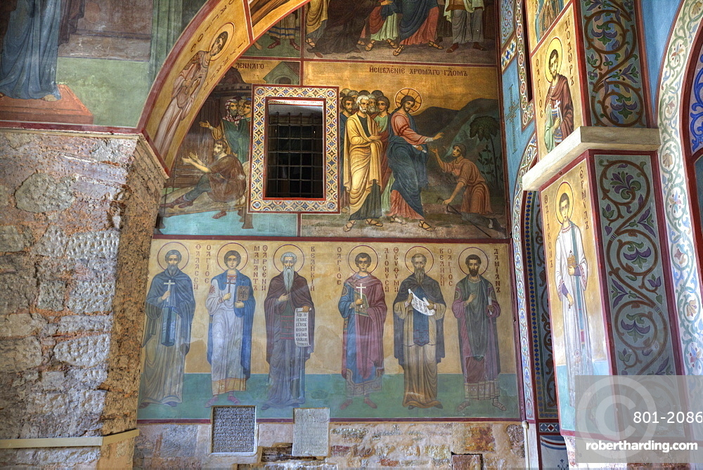 Interior fresco paintings, St. Sophia Cathedral, Kremlin, UNESCO World Heritage Site, Veliky Novgorod, Novgorod Oblast, Russia, Europe