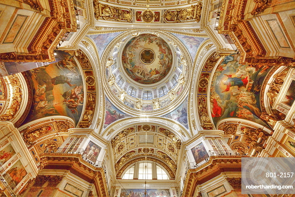 Interior, ceiling with belfry, St. Isaac's Cathedral, UNESCO World Heritage Site, St. Petersburg, Russia, Europe