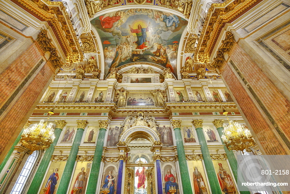 Interior walls and ceiling, St. Isaac's Cathedral, UNESCO World Heritage Site, St. Petersburg, Russia, Europe