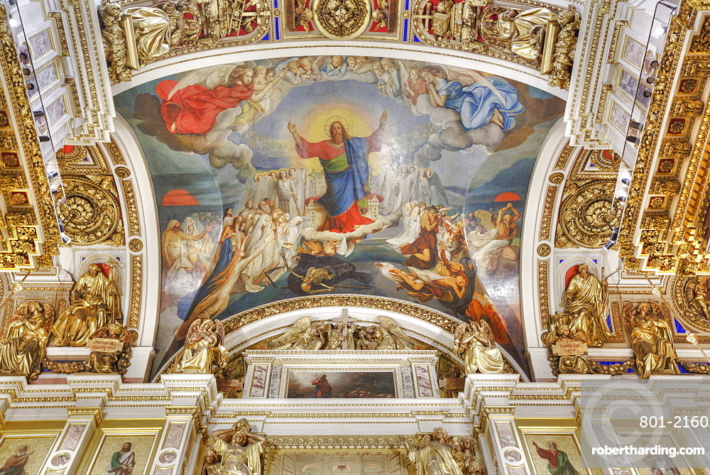 Interior Walls and Ceiling, St Isaac's Cathedral, UNESCO World Heritage Site, St Petersburg, Russia