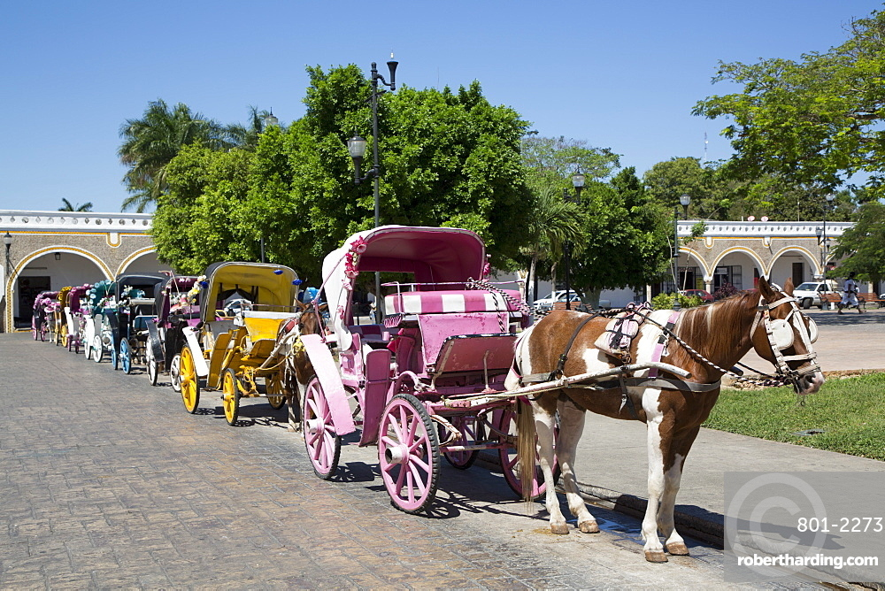 Tourist Horse Carts, Izamal, Yucatan, Mexico, North America