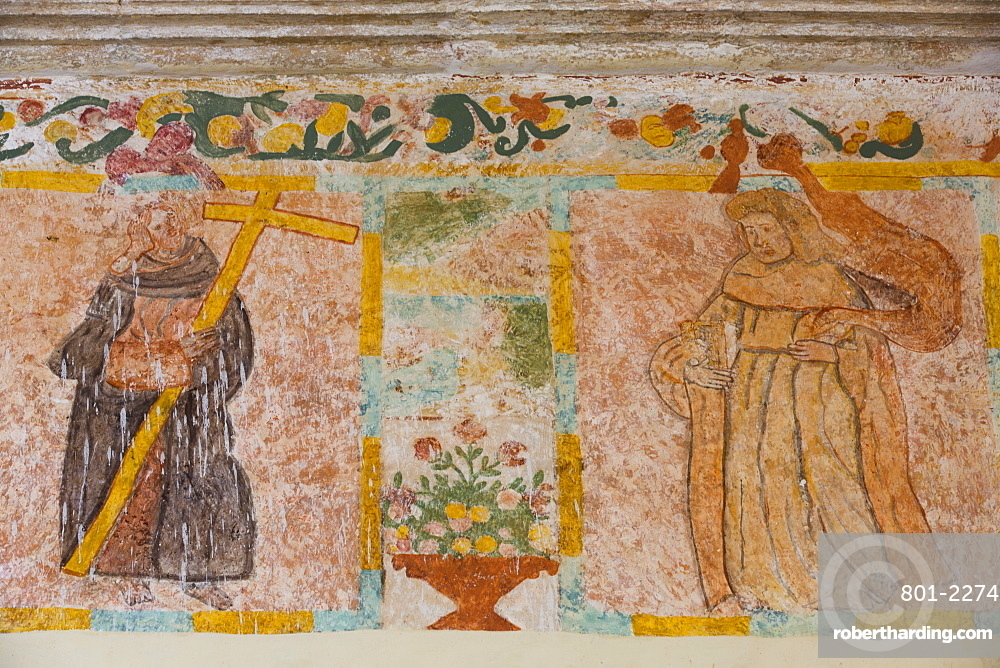 Original Frescoes, Former Convent, Church of San Pedro Y San Pablo, 1650, Teabo, Route of the Convents, Yucatan, Mexico