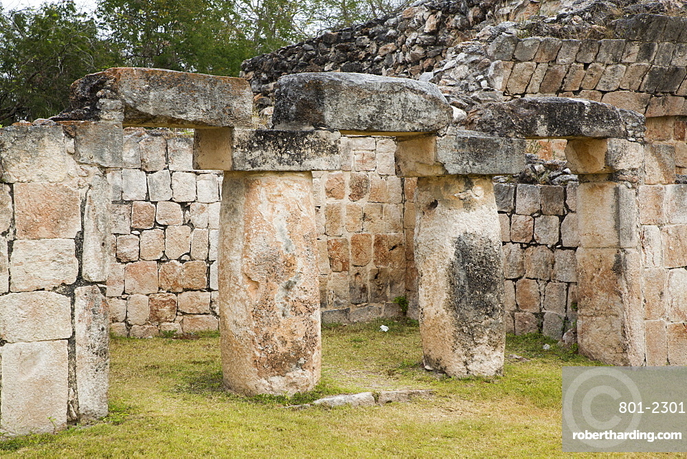 Palace (Teocalli), Kabah Archaeological Site, Mayan Ruins, Puuc Style, Yucatan, Mexico