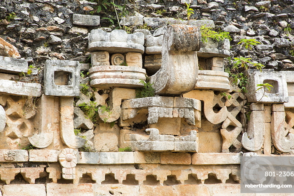 Chac Rain God Mask, Palace, Labna Archaeological Site, Mayan Ruins, Puuc style, Yucatan, Mexico, North America