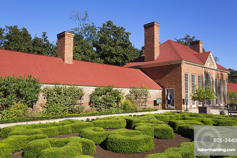 Green House on right, Slave Quarters on left, Upper Garden in foreground, Mount Vernon, Virginia, United States of America, North America