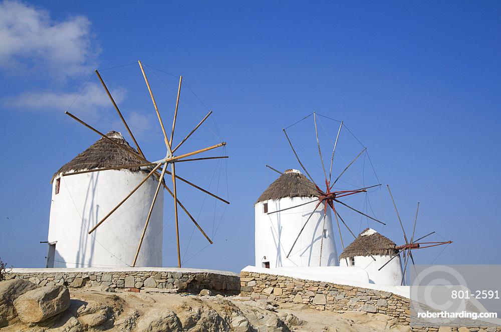 Windmills, Mykonos Town, Mykonos Island, Cyclades Group, Greek Islands, Greece, Europe