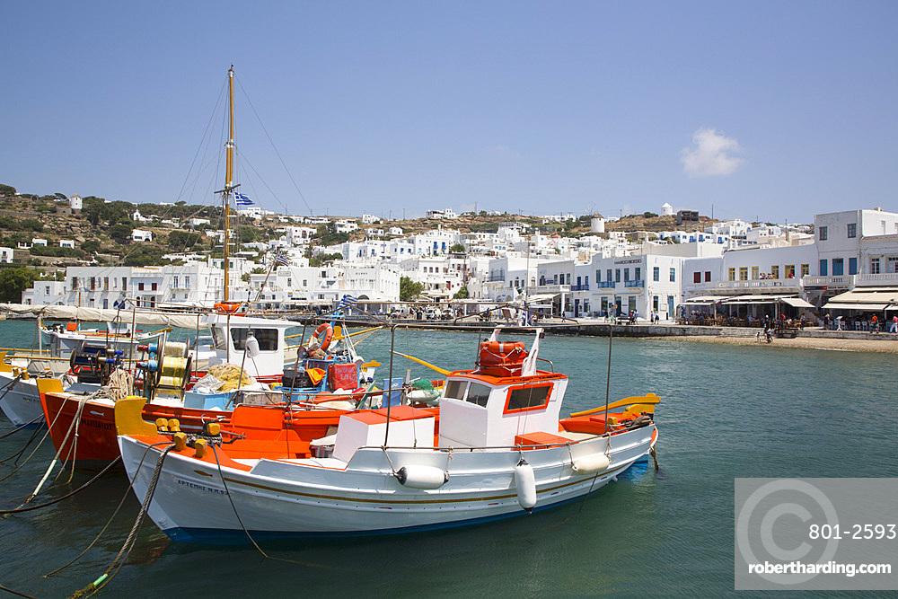 Fishing Boat, Mykonos Harbor, Mykonos Island, Cyclades Group, Greek Islands, Greece, Europe