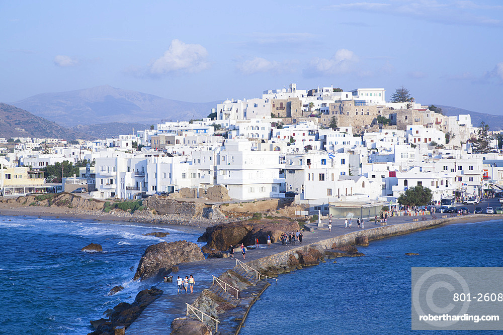 Hora (Old Town) with Causeway to the Temple of Apollo in the foreground, Naxos Island, Cyclades Group, Greek Islands, Greece, Europe
