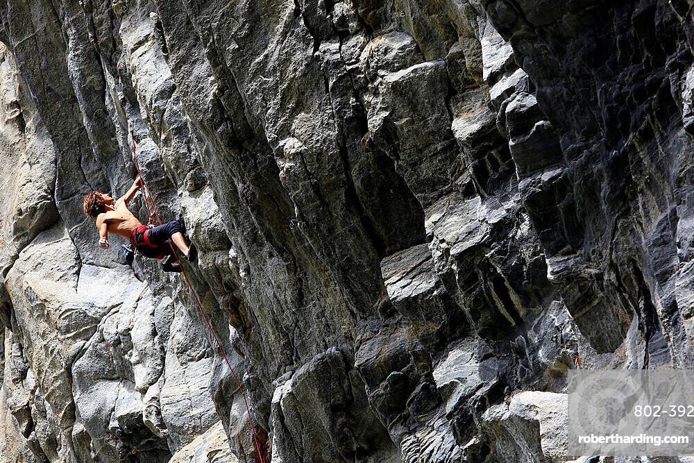 Rock climber in action, Flatanger, Norway, Scandinavia, Europe