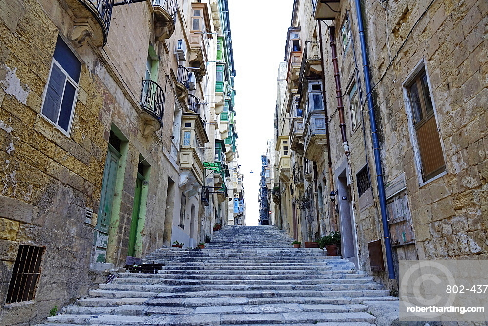 Street in the City of Valletta, UNESCO World Heritage Site, Malta, Europe