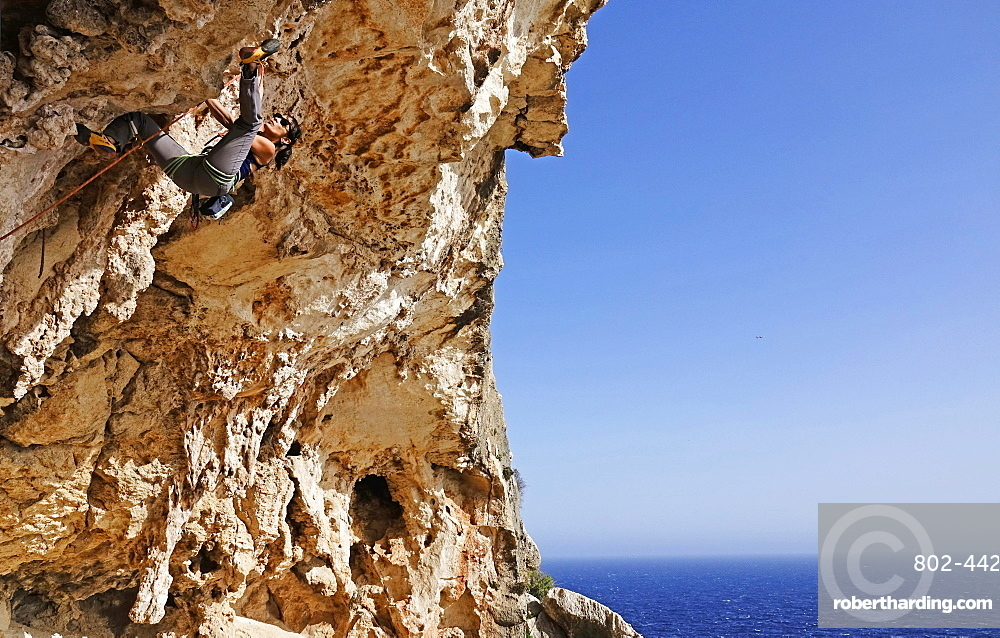 Rock climber in action on the cliffs of Malta, Mediterranean, Europe