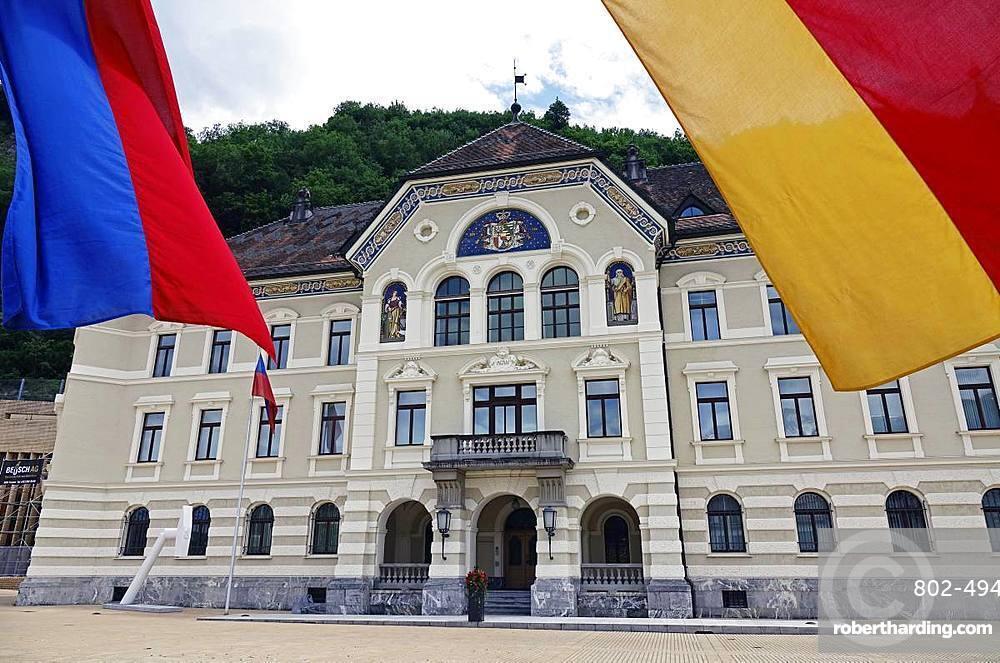 Parliament Building in central Vaduz, Liechtenstein, Europe