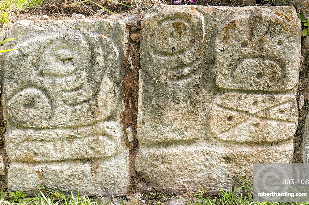 Stone carving, Palace of the Masks, Codz Poop, Kabah Archaeological Site, Kabah, near Uxmal, Yucatan, Mexico, North America