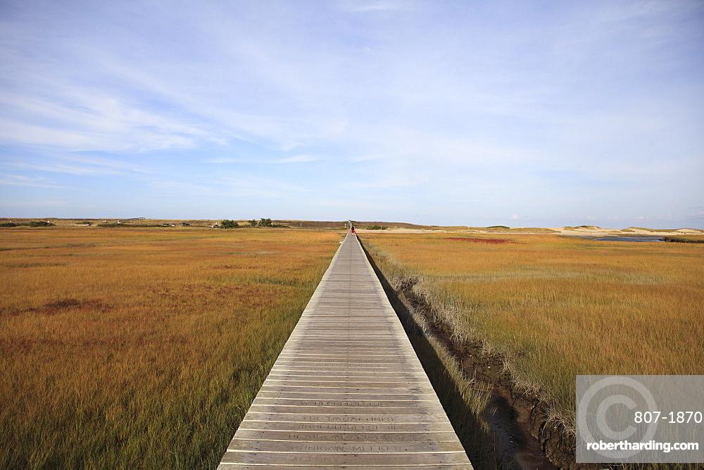 Sandwich Boardwalk, Salt Marsh, Sandwich, Cape Cod, Massachusetts, New England, United States of America, North America