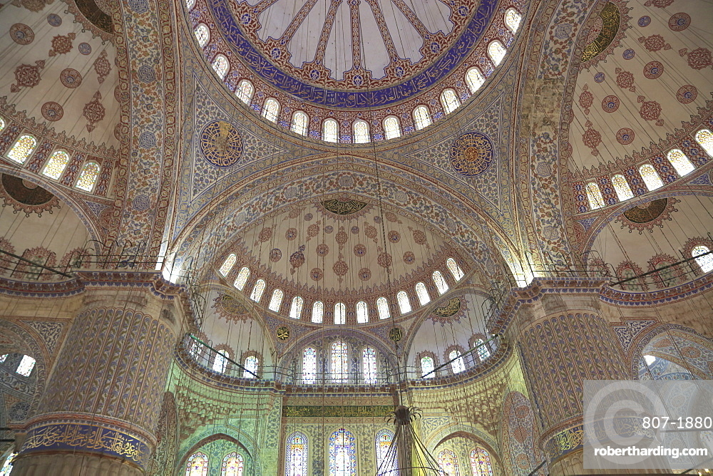 Interior, Blue Mosque (Sultan Ahmed Mosque) (Sultan Ahmet Mosque) (Sultanahmet Camii), UNESCO World Heritage Site, Istanbul, Turkey, Europe
