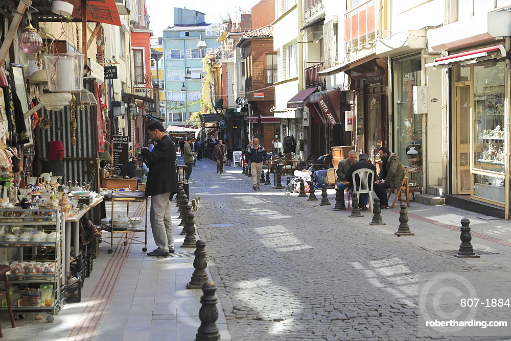 Shops selling antiques, Tellalzade Sokak (street), Kadikoy, Asian Side, Istanbul, Turkey, Anatolia, Asia Minor, Eurasia
