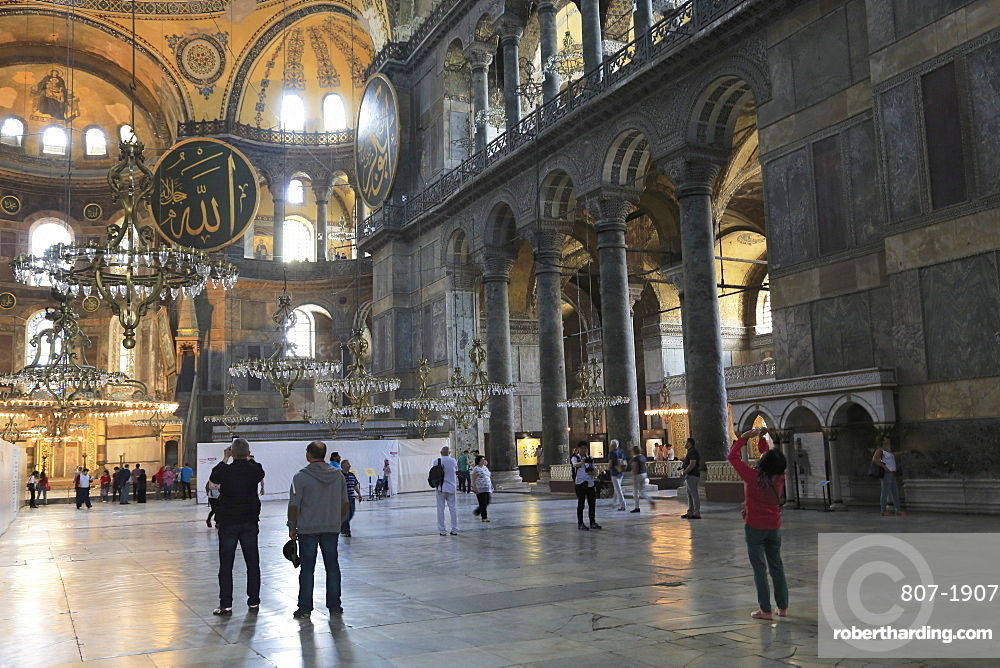 Interior, Byzantine architecture, Hagia Sophia (Aya Sofya), UNESCO World Heritage Site, Istanbul, Turkey, Europe