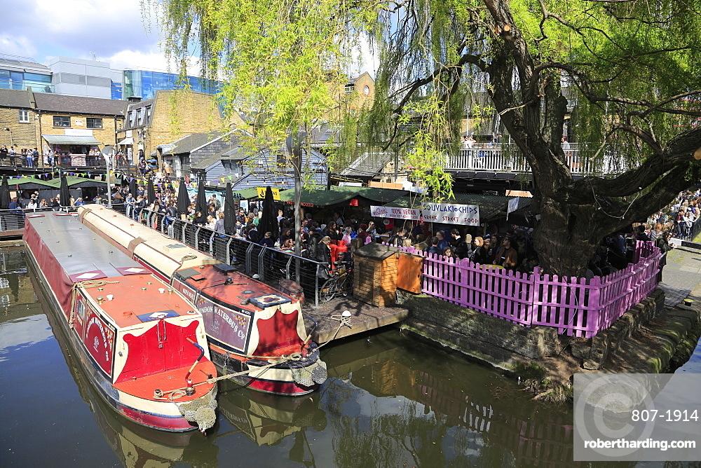 Camden Lock Market, Narrow Boats, Camden, London, England, United Kingdom, Europe