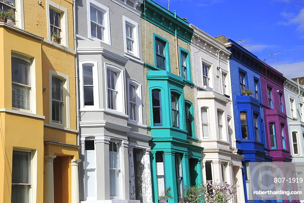 Colourful houses in Notting Hill, London, England, United Kingdom, Europe