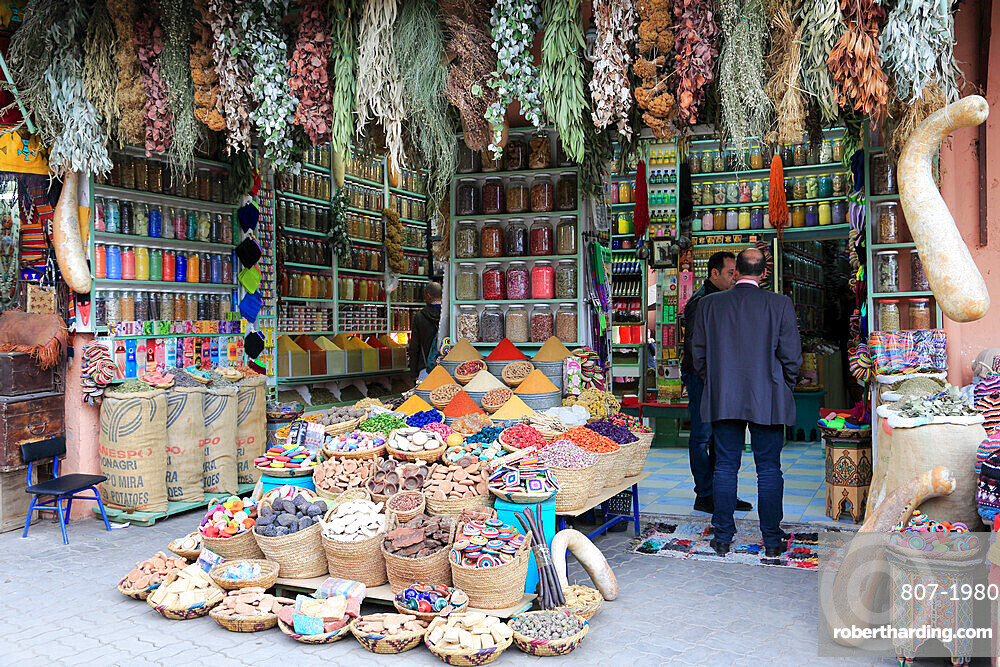 Spices and Herbs, Souk, Market, Medina, UNESCO World Heritage Site, Marrakesh, Marrakech, Morocco, North Africa