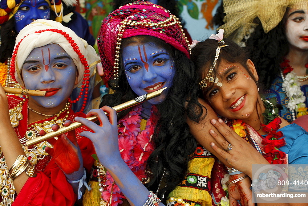 Children at Janmashtami festival (Krishna's birthday) at Bhaktivedanta Manor ISKCON (Hare Krishna) temple, Watford, Hertfordshire, England, United Kingdom, Europe